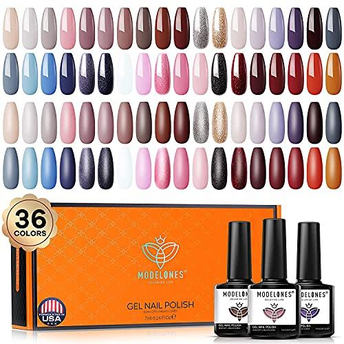 Modelones Gel Nagellack Set 36 Farben mit schöner Geschenkbox, Sommerfarbe Rosa Braun Gel Nagellacke Pastell UV Nagelgel Set für Nagelstudio Design Starter Maniküre Set