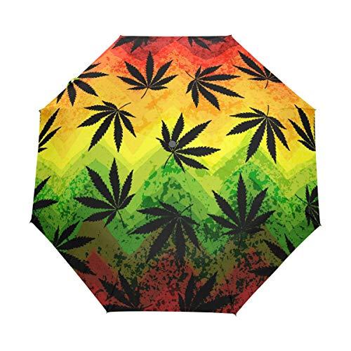 RXYY Paraguas geométrico de hojas de marihuana plegable y cierre automático para mujeres, hombres, niños, niñas, resistente al viento, compacto, viaje, ligero, para lluvia