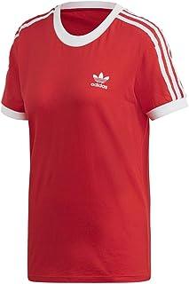 adidas Originals Women's 3 Stripes T-Shirt, Lush Red/White, S