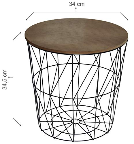 CALUTEA Moderner Beistelltisch Rund/Drahtkorb/Metall Schwarz/Holz Design Braun