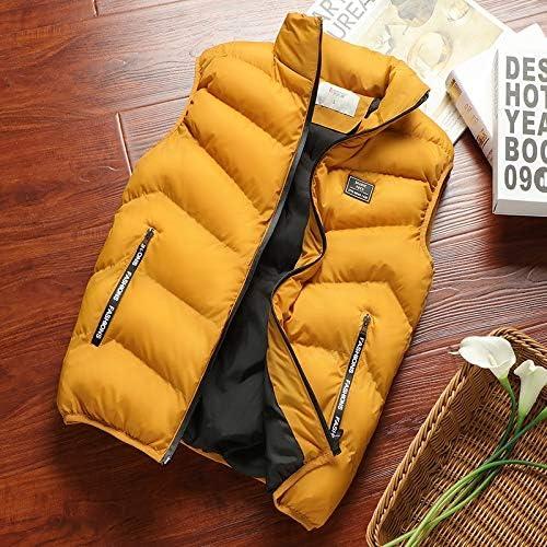 LYLY Vest Women Mens Jacket Sleeveless Vest Spring Thermal Soft Vests Casual Coats Male Cotton Men's Vest Men Thicken Waistcoat Coats Vest Warm (Color : Yellow, Size : XXL)