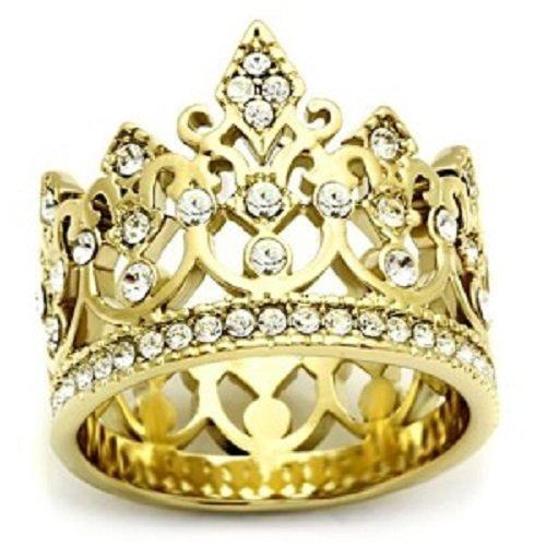 Yourjewellerybox - Anillo con detalle de diamante falso - para mujer - 18ct bañado en oro amarillo, talla 21,5 (19,58 mm)
