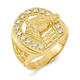 14k Yellow Gold Diamond Mens Band Ring Size 10.00 Man Horseshoe Fine Jewellery