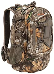 Unique organizational front shelf pocket helps keep all your gear at your fingertips Keep your essentials close with a drop-down rifle/bow holder pocket, quiver holders and hydration pocket and port Padded waist belt with two pockets and reinforced w...