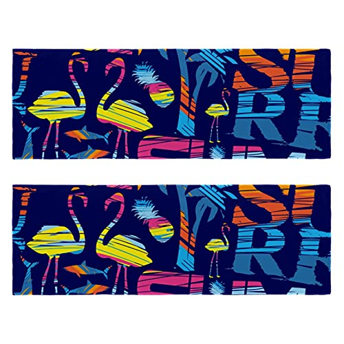 Toalla de microfibra flamenco de verano, de secado rápido, súper absorbente, ligera, apta para viajes, camping, gimnasio, natación, yoga