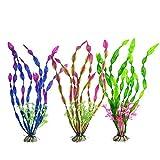 Lorcoo 3pcs Plantas Artificiales Acuario Plantas plásticas Decoración Acuarios, 30cm Plantas de Acuario Artificiales para Acuario y pecera