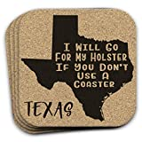 Texas State Gift Souvenir 4pc Gun Coaster Set