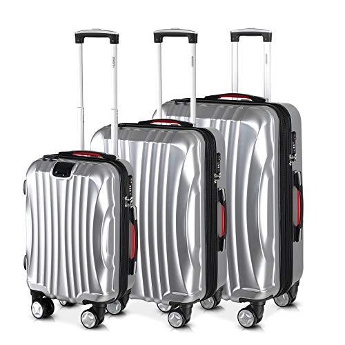 Monzana® Ikarus 3er Set Koffer Silber M, L, XL USB TSA-Schloss Reisekoffer Trolley Kofferset Rollkoffer