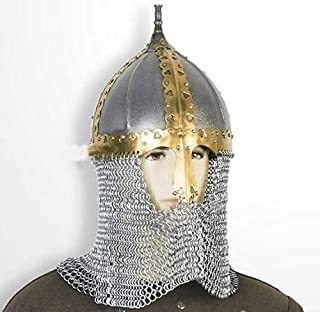 QUALITYMUSICSHOP Functional Medieval Russian Helmet 16 Gauge Steel with Chainmail Camail SCA