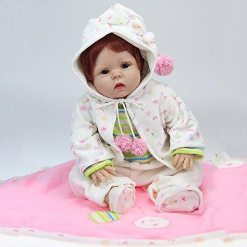 SHTWAD Reborn Puppe Kinder Spielzeug Geschenk Kindergarten Training Lebensechte Simulation Weißhe Silikon Weißnachten