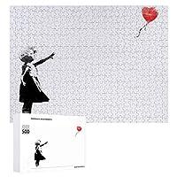 ジグソーパズルBanksy Girl With Heart Balloon、木質、成層なし、自家製デコレーション、すべての年齢層に適しています(500 PCS)