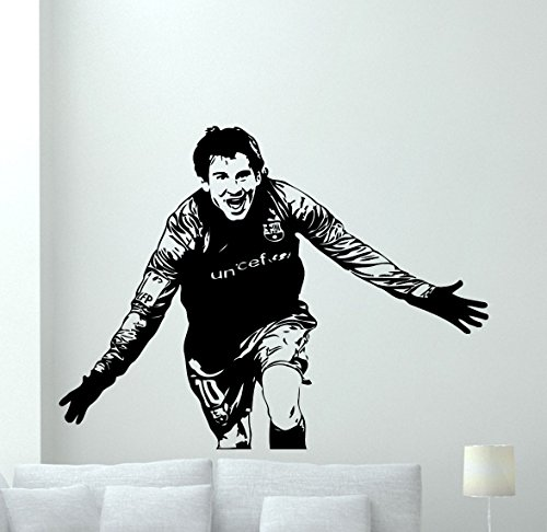 Lionel Messi Wall Decal Argentina Football Soccer Player Vinyl Sticker Barcelona Decal Sport Wall Art Design Housewares Living Room Bedroom Decor Removable Wall Mural 14nnn