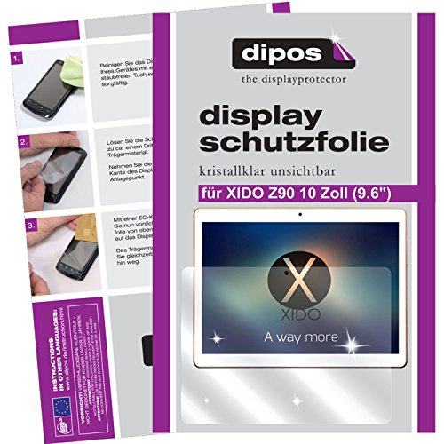 """dipos I 2X Schutzfolie klar kompatibel mit XIDO Z90 10 Zoll (9.6\"""") Folie Displayschutzfolie"""