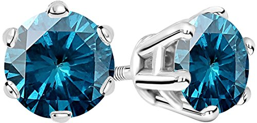 1 Carat Total Weight Blue Diamond Solitaire Stud Earrings Pair 14K White Gold Popular Premium Collection 6 Prong Screw Back