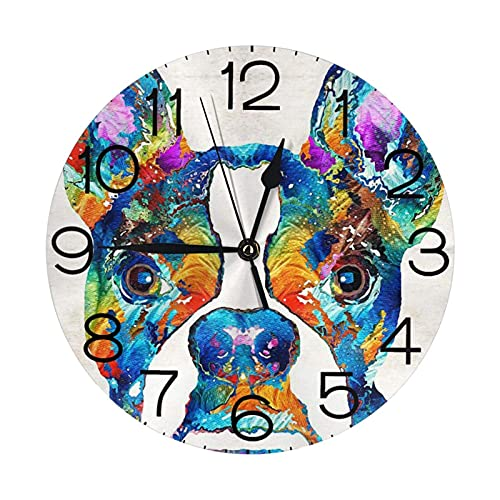 GOSMAO Round Wall Clock,Bostonterrier Dogs Colorful,Hanging Clock Desk Clock Decorative Clock For Home School Office