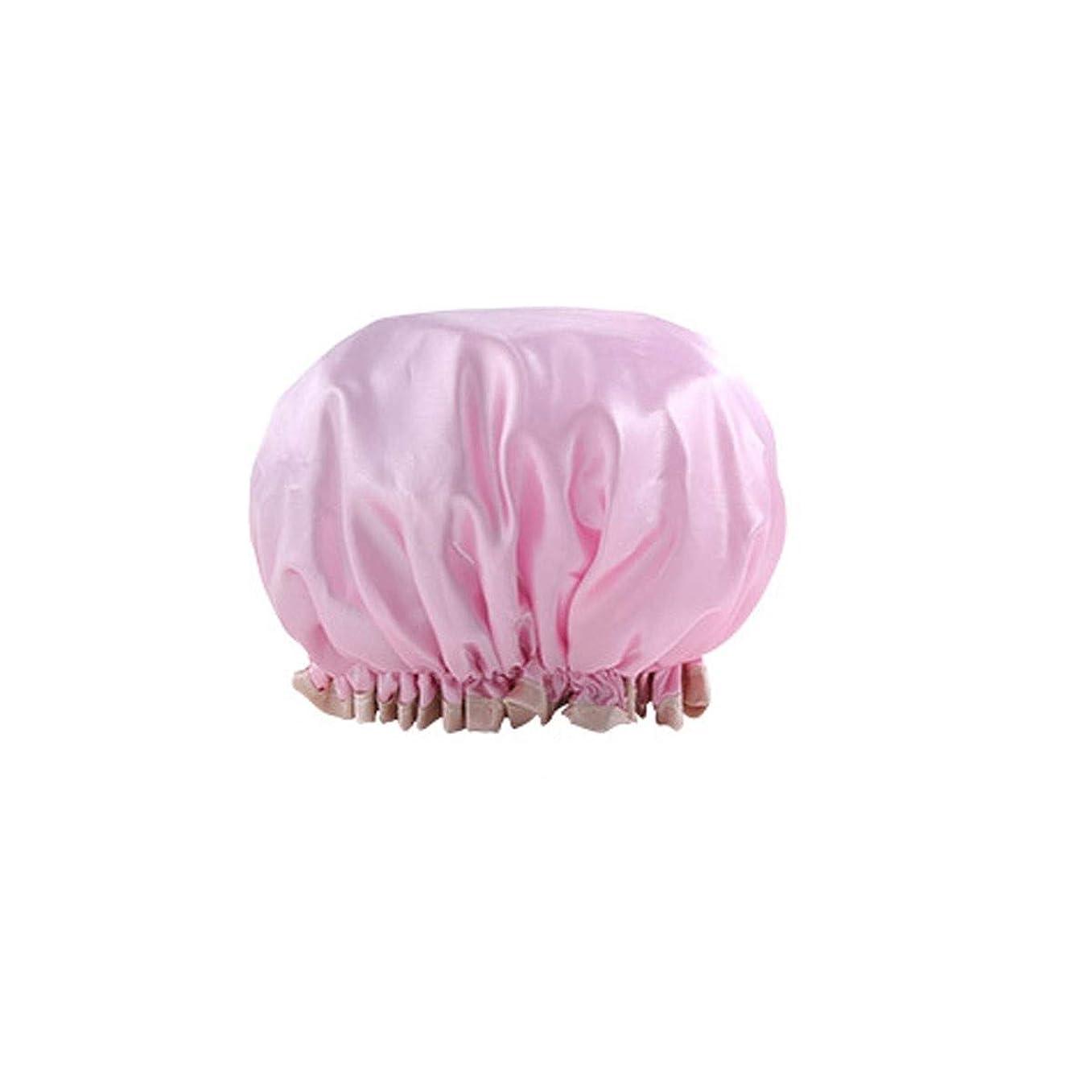 せがむポゴスティックジャンプ他の場所PFKE シャワーキャップ、二重の防水シャワーキャップ、大人の女性のシャワーヘアカバー、シャワーヘッドカバーシャワーヘアカバー、防曇ヘアキャップ、 シンプルで実用的な製品 (Color : Polka Dot Pink)