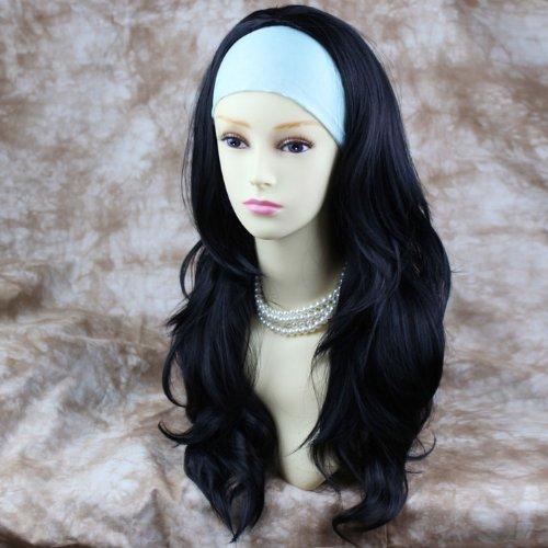 Noir 3/4 Perruque Pièce Extension de cheveux Longue Dégradé Ondulée Demi Perruque
