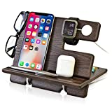 TESLYAR Wood Phone Docking Station Ash Key Holder Wallet Stand Watch Organizer Men Gift Husband Wife Anniversary Dad Birthday Nightstand Father Graduation Gadgets Compatible with iPhone iWatch AirPods