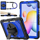 SEYMAC stock Case for Galaxy Tab S6 Lite 10.4 P610/P615 2020 , Full-Body Shock-Proof Case with 360 Degree Rotating Stand Pen Holder [Screen Protector] Hand Strap for Galaxy Tab S6 Lite (Blue+Black)