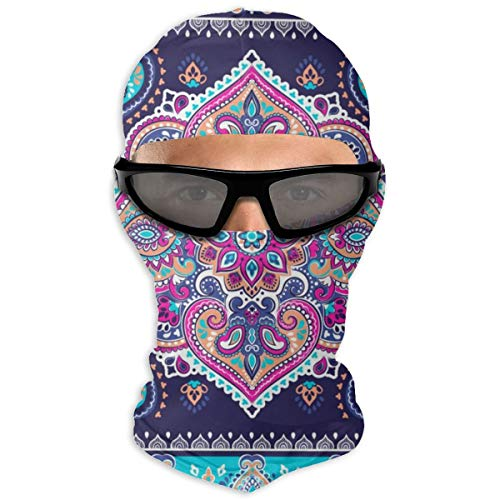 N/A Full Face Mask Indian Floral Paisley Mandala Ornament Pattern Hood Sunscreen Mask Dual Layer Cold For Men And Women