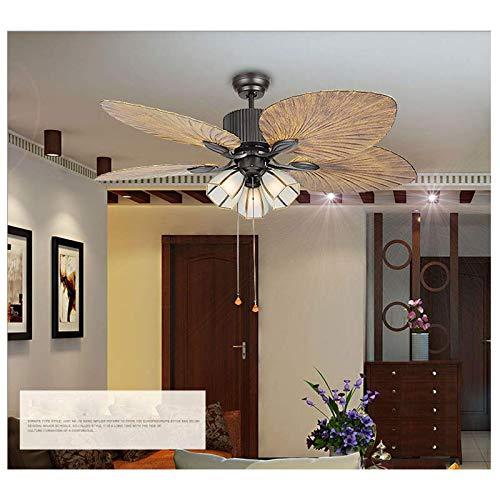 Palm-leaf - Ventilador de techo con luz (52', mando a distancia)