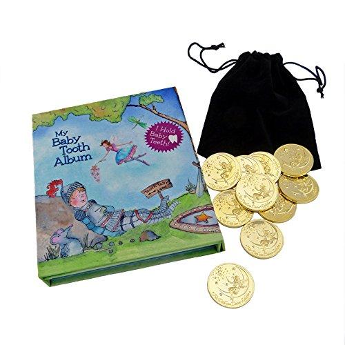 Zahnfee Münzen und blaue Milchzahndose im Set - 10 Stk. vergoldet