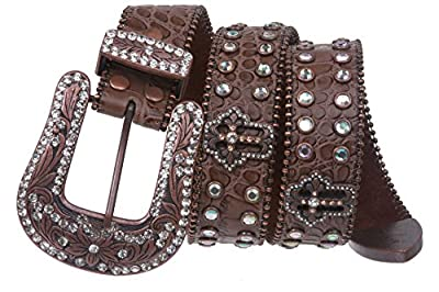 Western Snap on Cowgirl Alligator Rhinestone Cross Concho Leather Belt Size: M/L - 38 Color: Brown