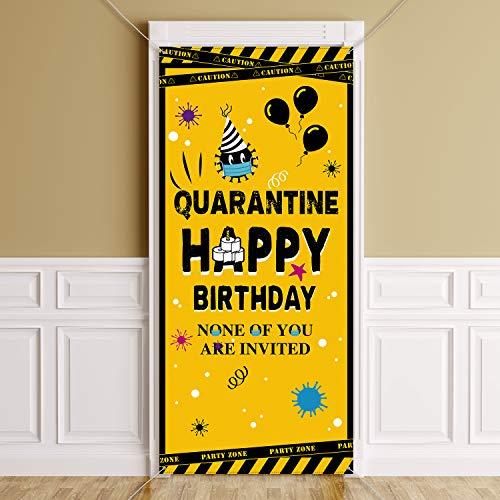 Quarantine Birthday Decorations Quarantine Birthday Banner Sign Social Distancing Theme Backdrop Background Quarantine Birthday Party Door Decorations Quarantine Door Cover Photo Booth, 78 x 35.4 Inch