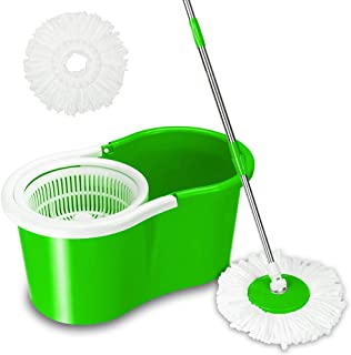 Valuebox Spin Bucket System Mop with Extended Length Handle 2 Microfiber Mop Heads 360° Rotation Easy Floor Mop (Green)