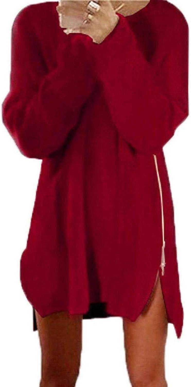 Yksth Women Casual Solid O Neck Long Sleeve Zipper Loose Dress Dresses