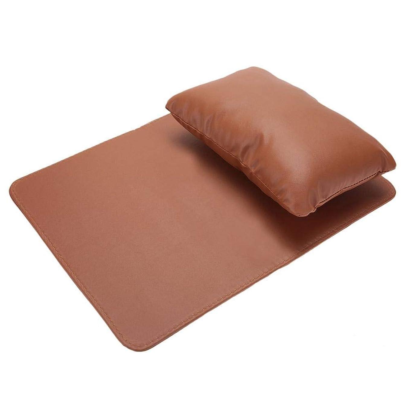 先生実行するハロウィンネイルアートハンド枕、ハンドクッションレストマニキュアサロン美容ソフトPUレザー洗えるハンドレスト枕とマニキュアテーブルマット(Coffee)