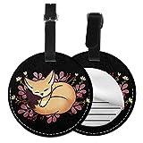 Kofferanhänger PU Leder Fennec Fox Schlafen Fennec Fox, Gepäckanhänger ID Etikett Mit Adressschild Namenschild für Reisetasche Koffer