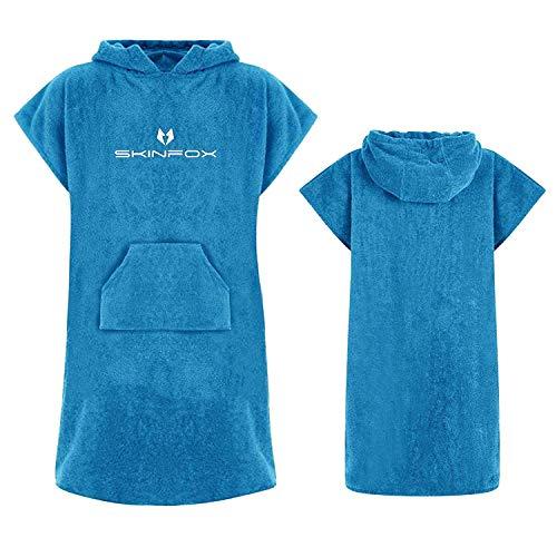 SKINFOX Bademantel blau Poncho 100% Baumwolle hochwertige Qualität