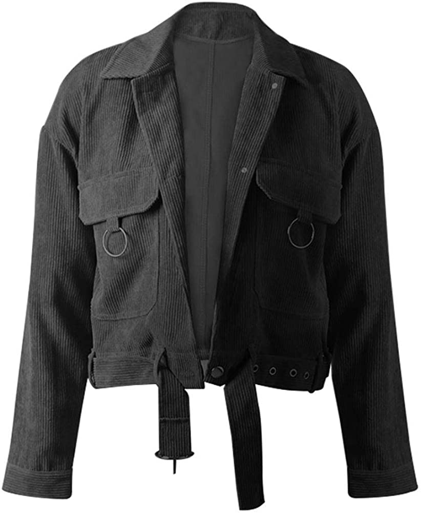 Ladyful Women's Cropped Fort Worth Mall Corduroy Jacket Miami Mall Outcoat Coat Sleeve Long