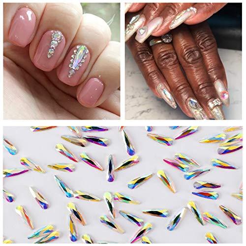 100pcs Ultra Sparkle&Shine AB Crystal Bead Teardrop/Raindrop Shapes Gold FlatBack Glass Rhinestones Diamonds Gems Pearls for 3D Nail Art Beauty...