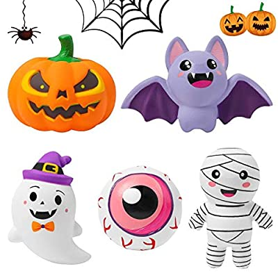 MALLMALL6 5Pcs Halloween Squishies Toys Cream Scented Slow Rising Jumbo Squishies for Kids Party Favors Birthday Gifts Spooky Halloween Eyeball Pumpkin Ghost Bat Mummy for Happy Halloween Decorations