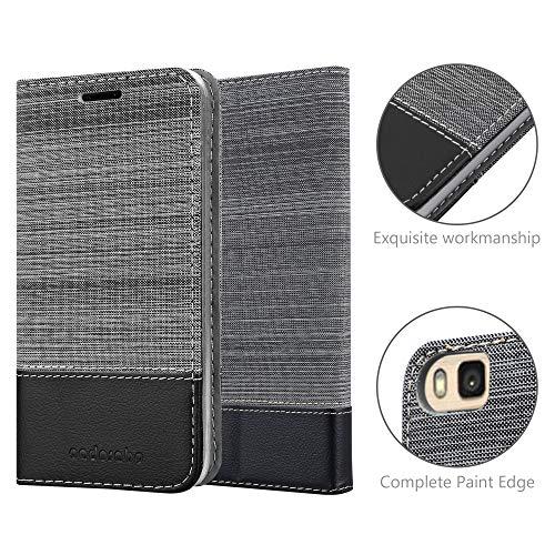 Cadorabo Hülle für Huawei P8 MAX - Hülle in GRAU SCHWARZ – Handyhülle mit Standfunktion und Kartenfach im Stoff Design - Case Cover Schutzhülle Etui Tasche Book - 6