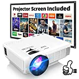 Latest Upgrade 7500Lumens Mini Projector for Outdoor Movies, Full HD 1080P 170' Display Supported, PS4,TV Stick, Smartphone, USB, SD Card Supported