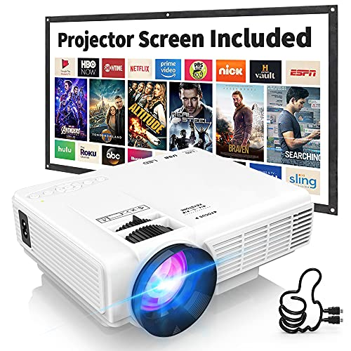 """Latest Upgrade 7500Lumens Mini Projector for Outdoor Movies, Full HD 1080P 170"""" Display Supported, PS4,TV Stick, Smartphone, USB, SD Card Supported"""