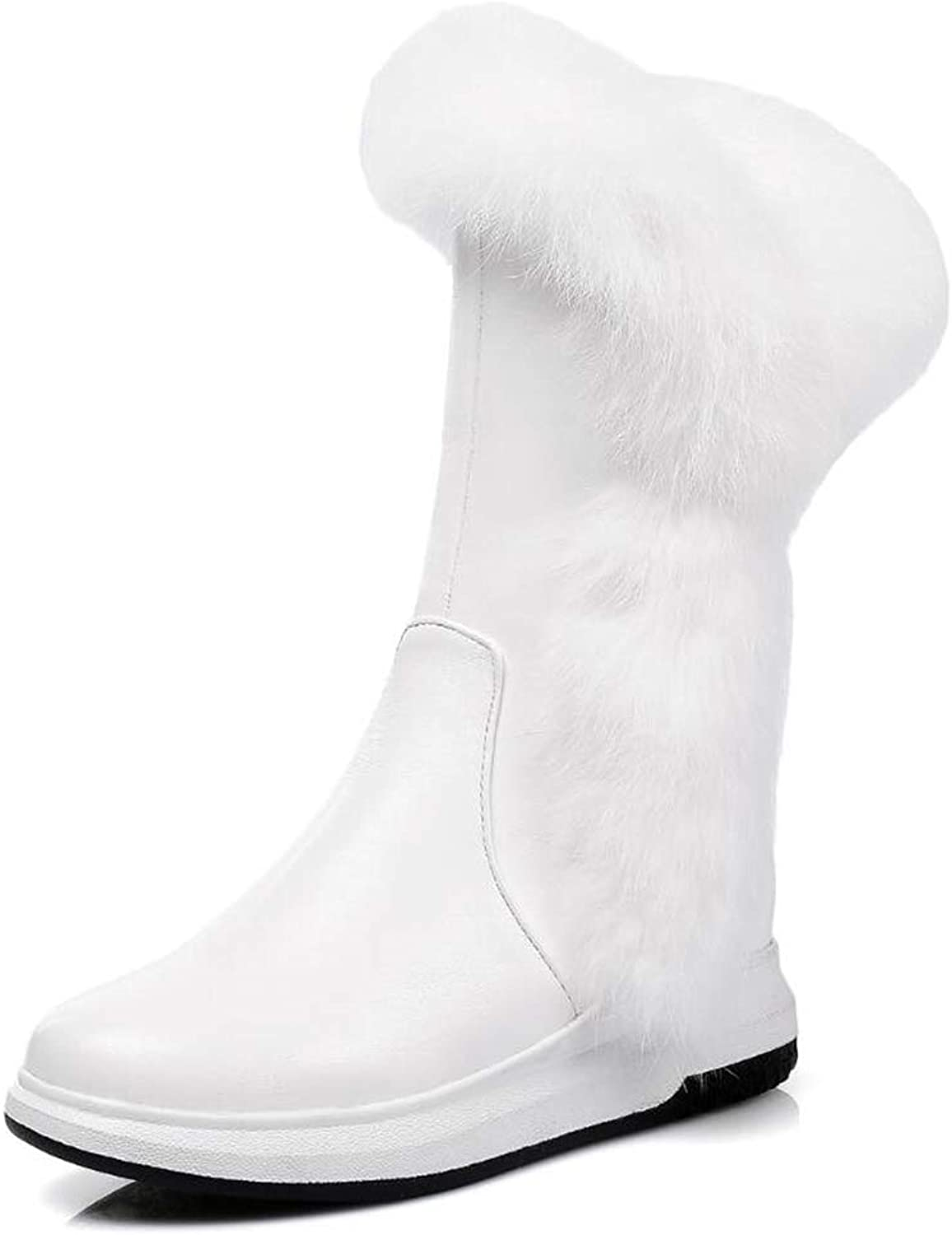 LVYING Womens Warm Mid Calf Ankle Boots Fashion Round Toe Nonskid Rubber Sole Winter Snow Boots