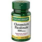 Nature's Bounty Mega Chromium Picolinate 800 Mcg, 100 Tablets (2 X 50 Count Bottles)