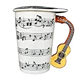 Giftgarden 13.5 oz White Coffee Mug with Lid Ceramic Cup 3D Guitar Music Notes Style for Water Milk Tea Drink 400ML Mugs Mothers Day Gift