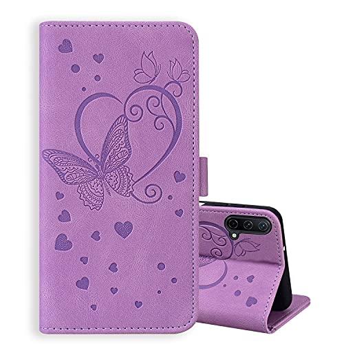 ONETHEFUL Handyhülle Book Cover Etui für OnePlus Nord CE 5G 2021 Hülle PU Leder Schmetterling Blume Muster Tasche Hülle Huelle mit Ständer - Lila