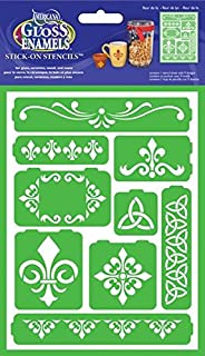 DecoArt Self-Adhesive Glass Series Americana Stencils, 6 by 8-Inch, Fleur De Lis