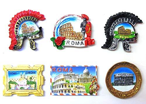 Composizione 6F - 6 Pezzi di Calamite Magnete per FRIGO Souvenir di Roma Souvenir from Italy Rome