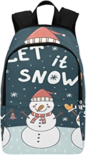 Let It Snow with Cute Christmas Snowmen Casual Daypack Travel Bag College School Backpack for Mens and Women