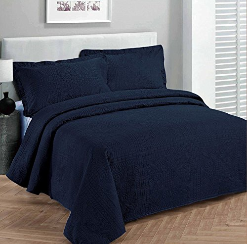 "Fancy Collection Luxury Bedspread Coverlet Embossed Bed Cover Solid Navy Blue King Over Size 118""x106"" New"