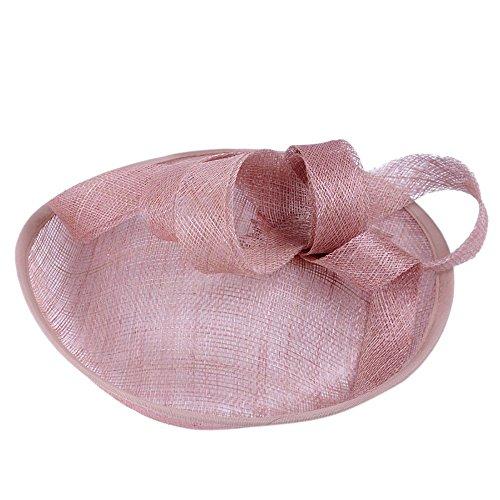 DEELIN Mujeres Boda Fascinator Penny Malla Sombrero Cintas Y Plumas Partido Sombrero Moda Nupcial Tocado con Lazo Red