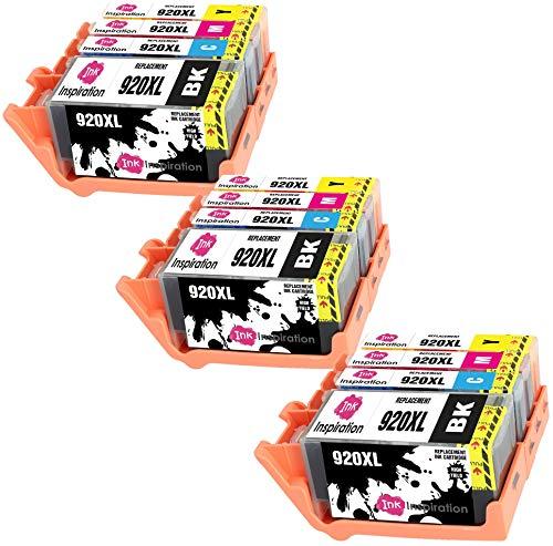 INK INSPIRATION® Ersatz für HP 920 920XL Druckerpatronen 12er-Pack, kompatibel mit HP OfficeJet 6000 6500 6500A 7000 7500A, Schwarz/Cyan/Magenta/Gelb