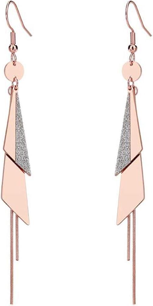 Rose Gold Stainless Steel Triangle Geometrical Tassel Dangle Drop Earrings